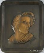 0J882 Nagyméretű bronz Chopin falidísz