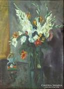 0J655 Kardvirágos virágcsendélet XX. sz. első fele