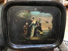 HATALMAS BIEDERMEIER FESTETT TÁLCA 1840-50