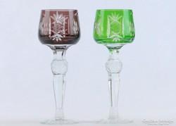 0J866 Régi csiszoltüveg likőrös talpas pohár pár