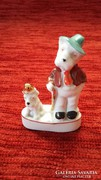 Wagner & Apel porcelán két vicces, kalapos porcelán kutya