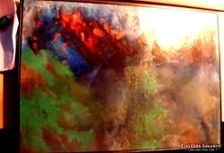 """Kortárs absztrakt festmény. """"Tűzangyalok""""."""