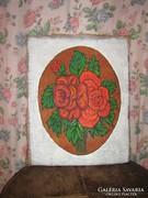 Csodaszép piros rózsás vintage shabby chic festmény