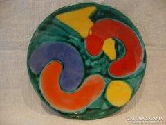 Jelzett színes retro kerámia falitál
