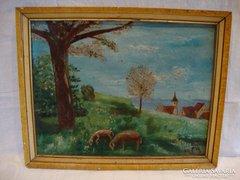 Domboldal birkákkal festmény
