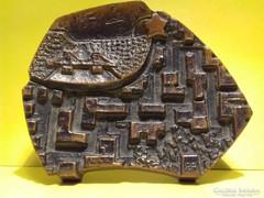 Retro jelzett bronz plakett