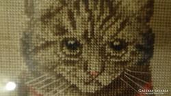 Antik cica , cicás , macskás  falikép goblein