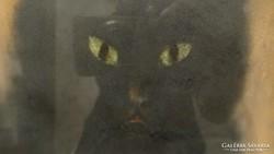 Fekete macska pasztell kép art deco