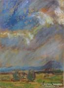 Magyar festő 1970 körül : Felhős égbolt