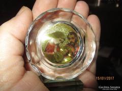 Gyönyörű Szent Család szentkép üvegbe dolgozva, álló dísz