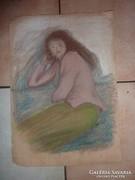 Pihenő lány, pasztell jelzéssel