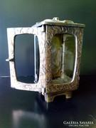 Antik bronz  szecessziós  egyedi sír lámpa ( Grave lamp ) urnatartó