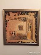 Kortárs absztrakt festmény, a művésztől, kerettel