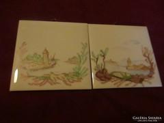 Olcsóbban! 2 db kézzel festett kerámia falikép 10,7 cm  170122