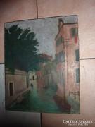 Velencei utcakép gondolákkal, régi olaj-vászon, jelzéssel