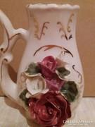Régi rózsás jelzetlen porcelán váza
