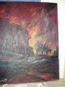 Szignált olaj farost festmény keret nélkül