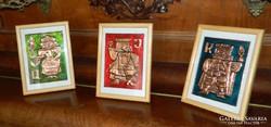 Tűzzománc kép garnitúra, zománcképek : kártyafigurák (3 db)