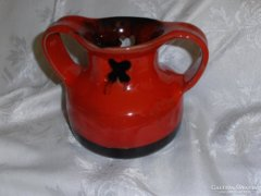 Piros-fekete retro kerámia váza