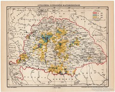 A filoxéra elterjedése Magyarországon térkép 1898, eredeti