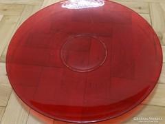 Tűzpiros üvegtányér, átmérő: 43 cm