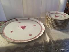 Gyönyörű Herendi Rózsaszín Apponyi Szendvicsező Szett