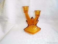 Art deco borostyán szinű üveg gyertyatartó
