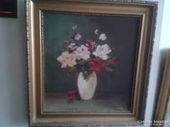 Olaj vászon szignós festmény 49x52cm