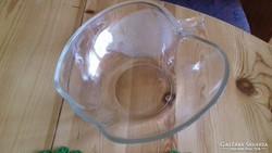 Üveg tál, félbevágott alma, 22 x 22 x 8 cm