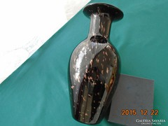 LOETZ jellegű Fekete üveg arany zárványokkal SILBERBERG CRYSTAL német fújt üveg váza-29 cm