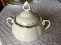 Antik cseh porcelán cukortartó, vitrin