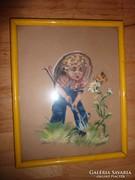 Pillangóra rácsodálkozó kisfiú, pasztell-karton jelzéssel