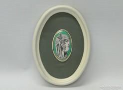 0K846 Szász Endre porcelán falikép 16.5 cm