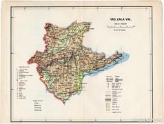 Vas, Zala vármegye térkép 1935, eredeti