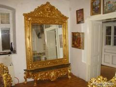 Antik , Barokk aranyozott állótükör