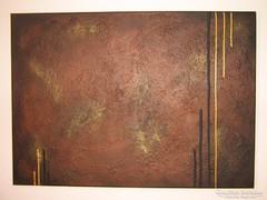 Új! Kézzel festett gyönyörű absztrakt festmény bronz alapon