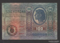 100 korona 1912.  EF+. Román felül bélyegzés!!!