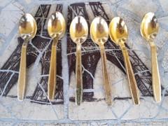 Retro  Világos Sárga arany színű alumínium kávés kanál 80-s
