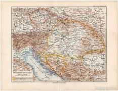 Osztrák - Magyar Monarchia térkép 1892, eredeti, német, régi