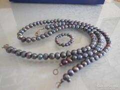Fekete gyöngysor karkötő és gyűrű
