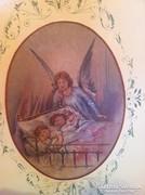 400 éves antik barokk angyalos festményű gyerekágy eladó
