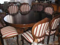 Bidermaier étkezőasztal 6 székkel