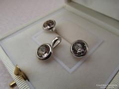 Ezüst button szett - stekker fülbevaló + medál új pezsgő szín