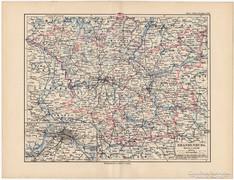 Brandenburg térkép 1892, eredeti, német, régi