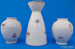 Régi Drasche ibolya és tavaszi virág váza trió
