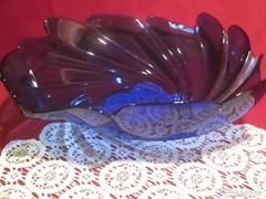 Legyező mintás üveg tál  kínáló asztalközép 28  cm 1701/7