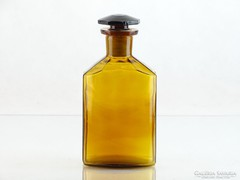 0L303 Régi barna színű tároló tégely patika üveg