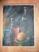 Asztali csendélet naranccsal, olaj-karton j.n.
