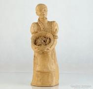 0L345 Jelzett kerámia női szobor 32 cm