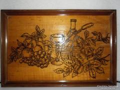Falikép, falemezre égetett minta, vésett égetéssel, 47x31 cm